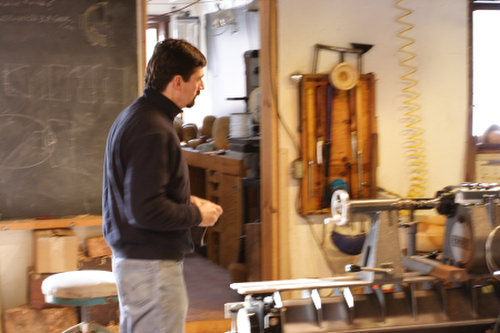 student by the lathe