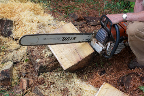 Trimming the blank with the chainsaw