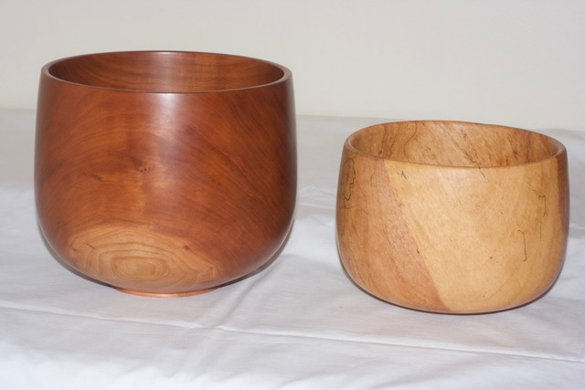 turned calabash wooden bowl