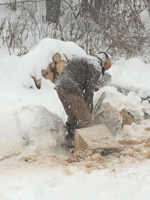 cutting wood in the snow
