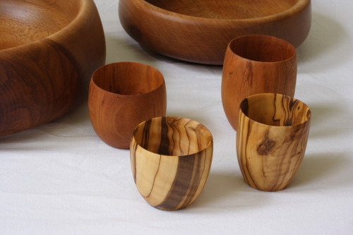 Olive And Cherry Hand Turned Wooden Cups